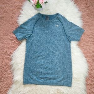 GYMSHARK Teal Vital Seamless Tee Shirt Top